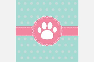 Label with paw print