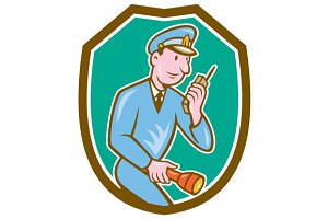 Policeman Torch Radio Shield Cartoon