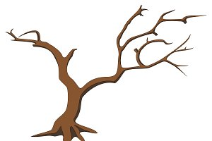 Dry tree silhouette, vector image