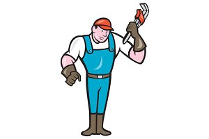 Plumber Standing Monkey Wrench Carto