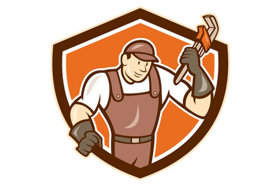 Plumber Monkey Wrench Shield Cartoon Pre Designed Illustrator Graphics Creative Market