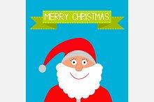 Santa Claus and green ribbon.