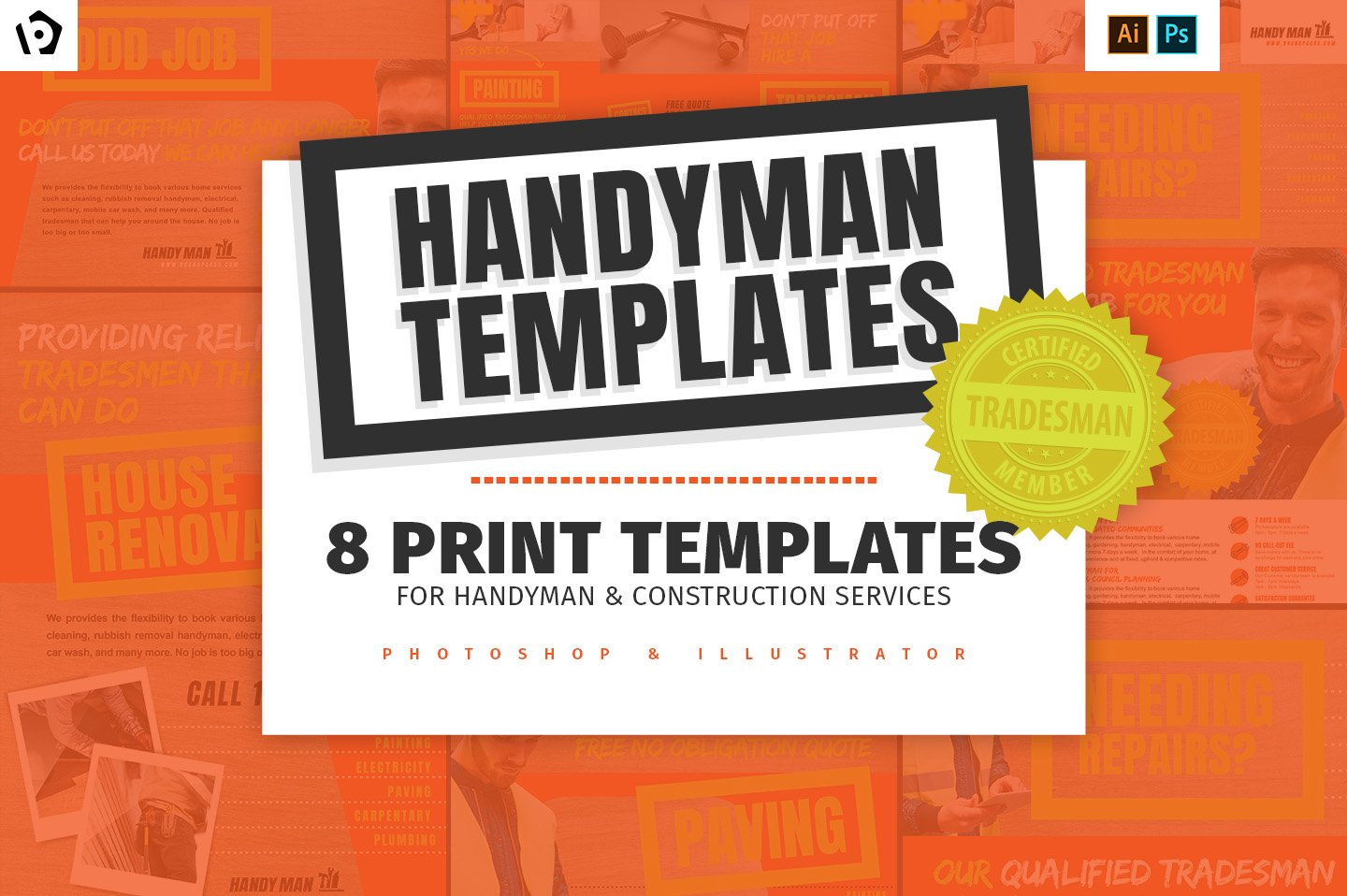 handyman templates pack v2 flyer templates creative market. Black Bedroom Furniture Sets. Home Design Ideas