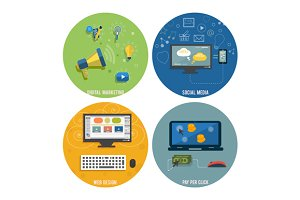 Set Icons for web design, seo