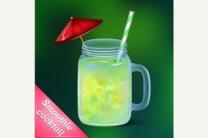 Smoothie cocktail in glass jar mug