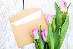 Tulip bouquet and envelope