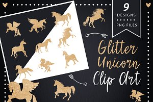 Gold Unicorn Clip art