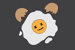 Fried cracked egg