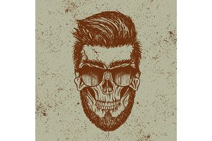 Hipster skull of human with sunglasses