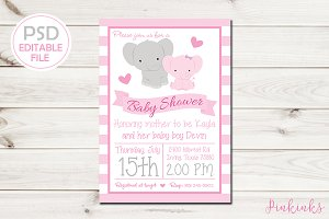 Girl Elephant Baby Shower Invite