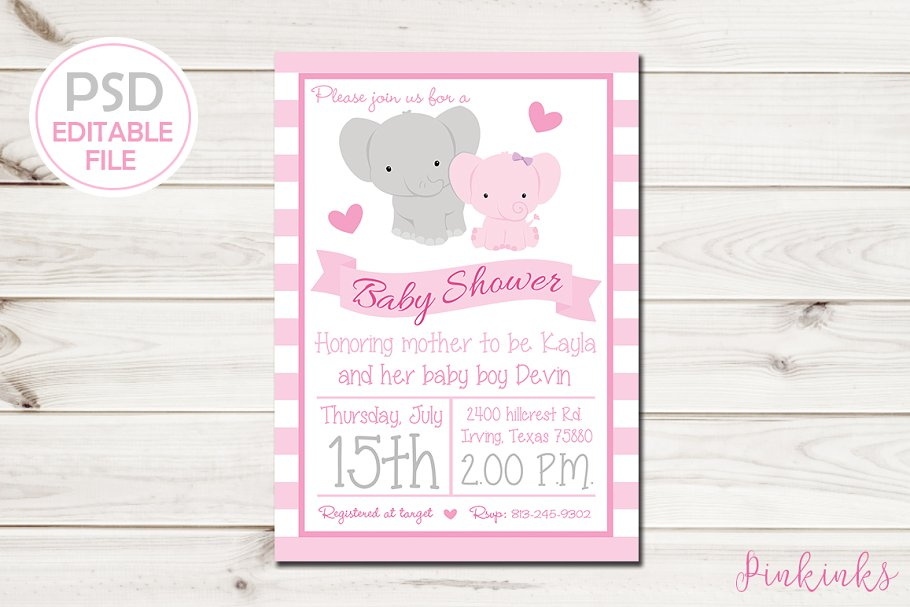 Girl Elephant Baby Shower Invite Invitation Templates Creative