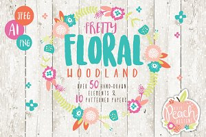 50% OFF SALE Floral Woodland