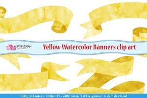 Yellow Watercolor Banner clipart