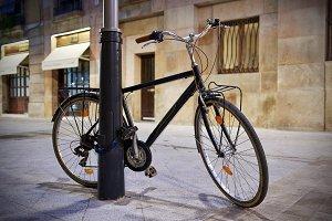 Vintage Bicycle secured on a lamp