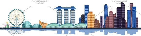 Color Singapore City Skyline