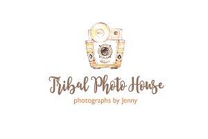 Tribal Camera Logo Watercolor