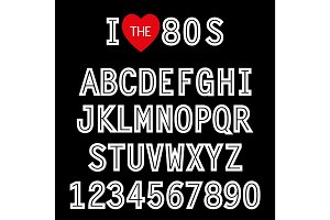 I love 80s. Retro font in traditional colors and style