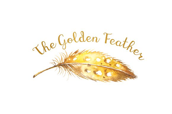 Gold Feather Logo Tribal Boho