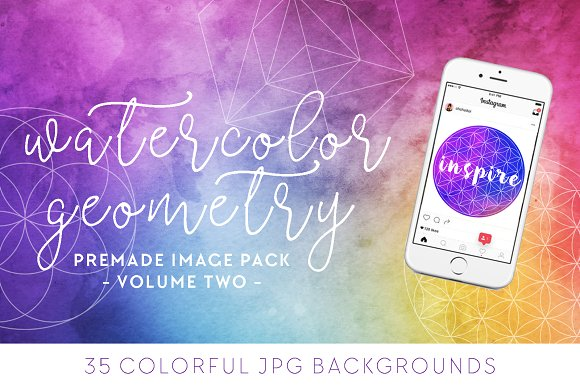 Watercolor + Geometry Image Pack [2] in Social Media Templates