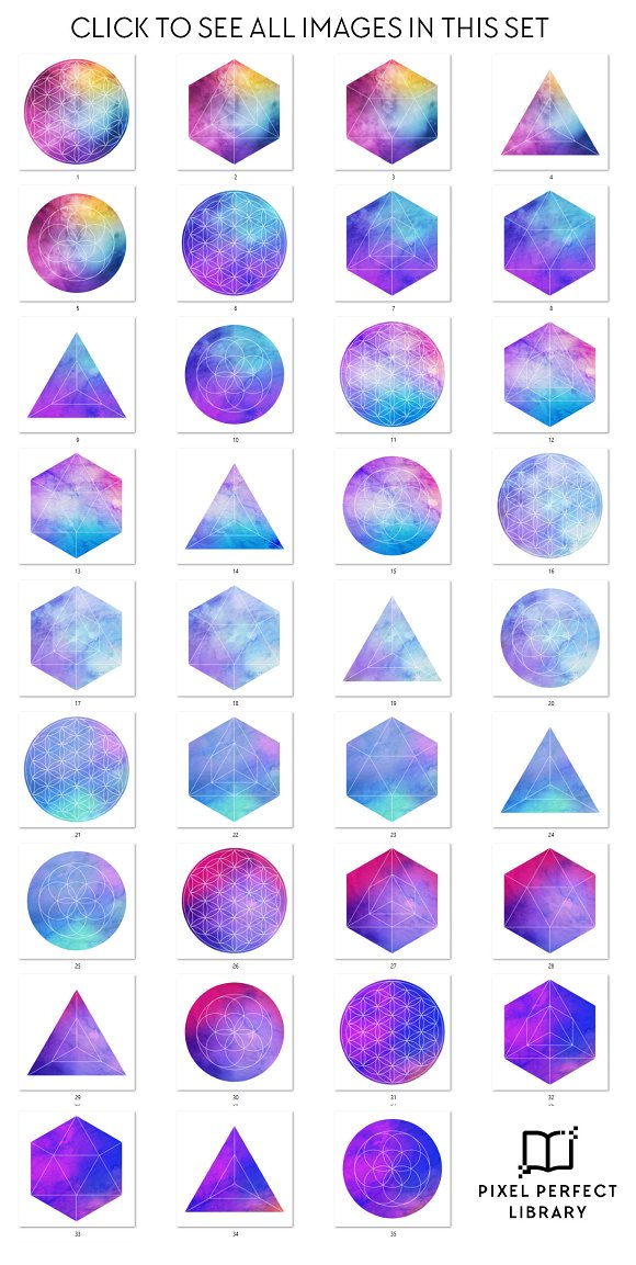 Watercolor + Geometry Image Pack [2] in Social Media Templates - product preview 3