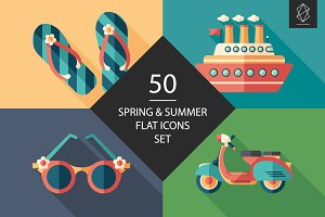 50 Spring and summer flat icons set