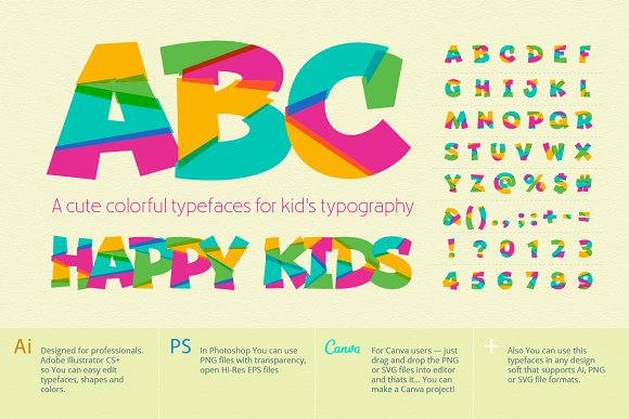 Cute Typefaces For Kids Typography Graphic Objects Creative Market