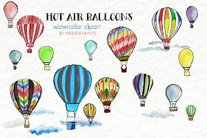 Watercolor Clip Art - Air Balloons