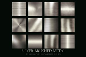 Silver brushed metal textures