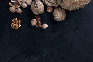 Many variety nuts on black
