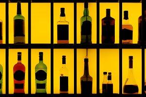 Various hard alcohol bottles