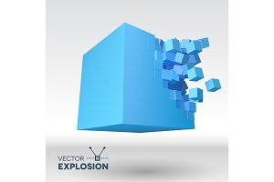 Vector 3D cube explosion with cubical particles