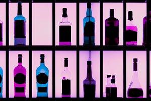 Various hard liquor bottles