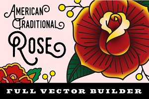 American Traditional Vector Rose