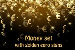 Money set with golden euro signs