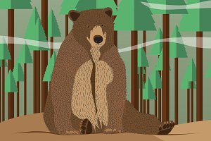 Bear in forest illustration