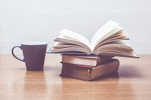 Some books and a cup of coffee