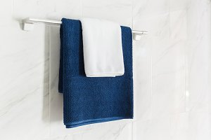 Blue and white color towels