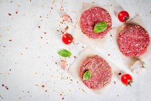 Raw minced beef steak burger