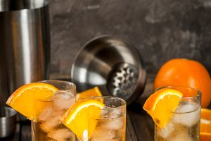 Whiskey Orange Highball Cocktail