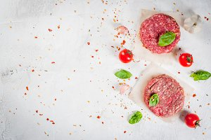 Raw minced beef steak burgers