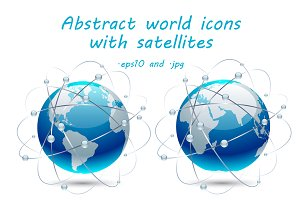 Abstract world icons with satellites