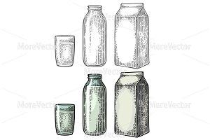Milk box package, glass, bottle