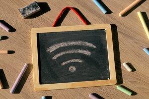 Wifi. Chalkboard.