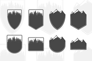 Forest and mountains emblems
