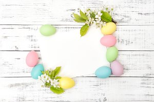 Easter eggs decoration flowers