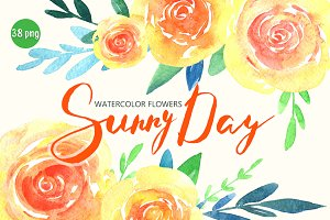 Watercolor yellow & orange flowers
