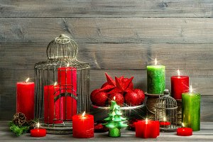 christmas. burning candles