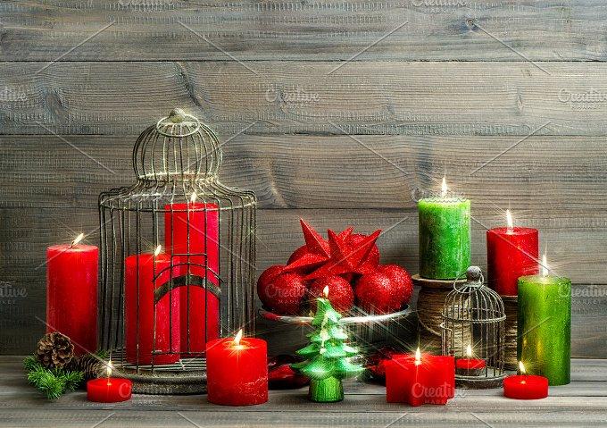 christmas. burning candles - Holidays
