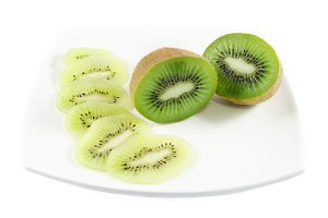 Piece of kiwi fruit and slices