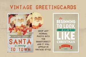 2 Christmas Greeting Cards Retro